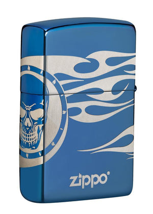 Zippo Lighter - Tattoo MultiCut High Polish Blue
