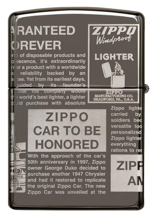 Zippo Lighter - Newsprint MultiCut Black Ice