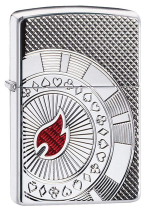 Zippo Lighter - Armor Poker Chip High Polish Chrome