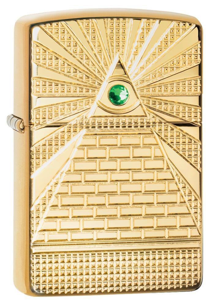 Zippo Lighter - Eye of Providence Brass High Polish Armor