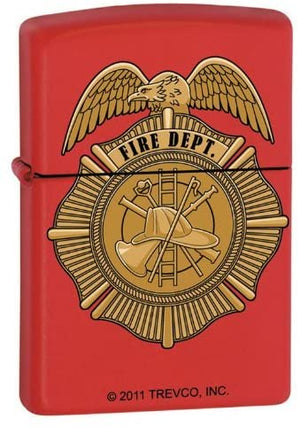 Zippo Lighter - Red Fire Dept. Badge