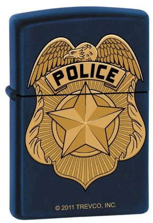 Zippo Lighter - Navy Blue Police Badge