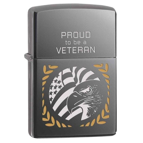 Zippo Lighter - Proud To Be A Veteran Black Ice - Lighter USA - 1