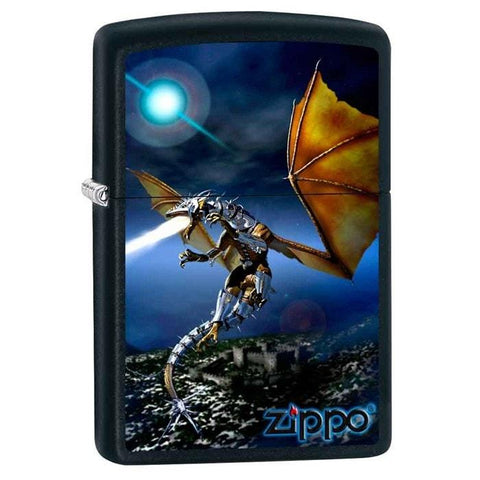 Zippo Lighter - Fire Dragon Black Matte - Lighter USA - 1