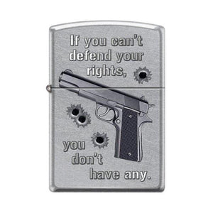 Zippo Lighter - If You Can't Defend Your Rights Street Chrome