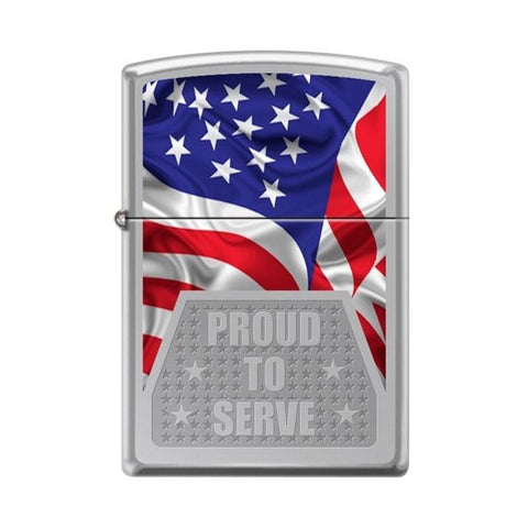 Zippo Lighter - Proud To Serve High Polish Chrome - Lighter USA - 1