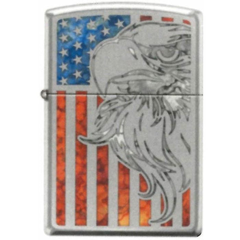 Zippo Lighter - Eagle Flag Fuzion High Polish Chrome - Lighter USA - 1