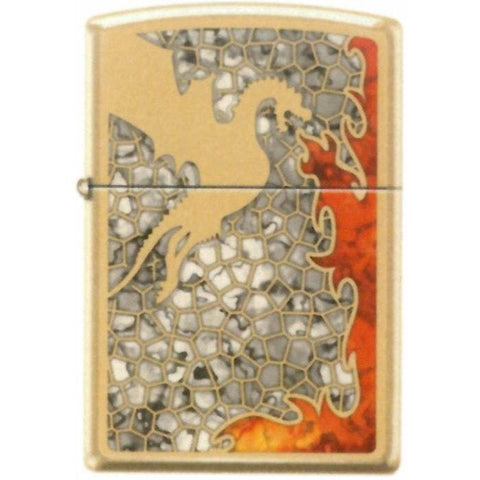 Zippo Lighter - Dragon Fuzion High Polish Brass - Lighter USA - 1