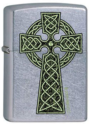 Zippo Lighter - Celtic Irish Green Knot Cross