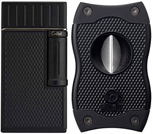 Colibri Julius Lighter & SV Cat's Eye Cigar Cutter Gift Set