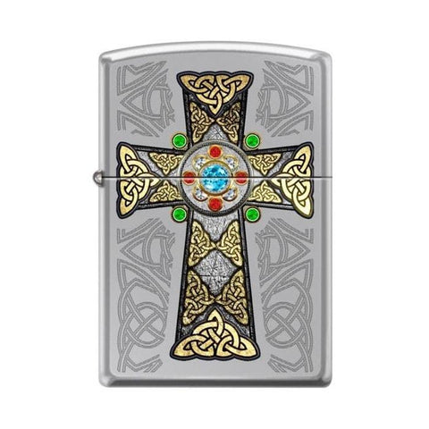 Zippo Lighter - Celtic Cross High Polish Chrome - Lighter USA - 1