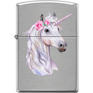 Zippo Lighter - Unicorn w/ Rose