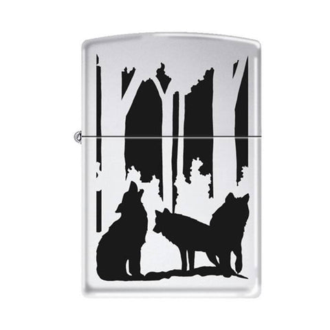 Zippo Lighter - Wolves in Forest High Polish Chrome - Lighter USA