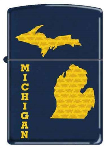 Zippo Lighter - State of Michigan Blue Matte - Lighter USA