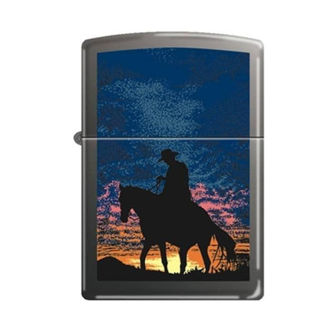 Zippo Lighter - Cowboy Sunset Black Matte - Lighter USA