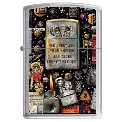 Zippo Lighter - Military Montage High Polished Chrome - Lighter USA