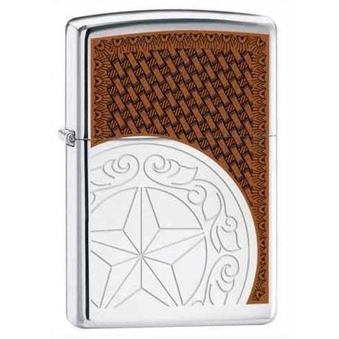 Zippo Lighter - Star Concho High Polish Chrome - Lighter USA