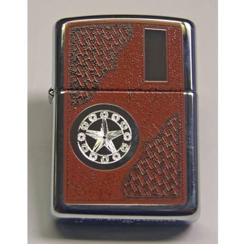 Zippo Lighter - Western Star with Engraving Panel High Polish Chrome - Lighter USA