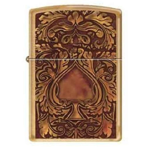 Zippo Lighter - Golden Spade Brushed Brass - Lighter USA
