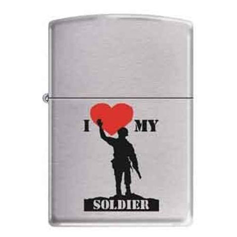 Zippo Lighter - I Love My Soldier Brushed Chrome - Lighter USA