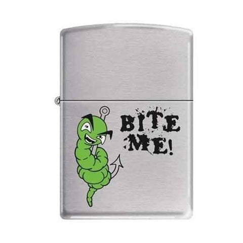 Zippo Lighter - Bite Me!  Brushed Chrome - Lighter USA