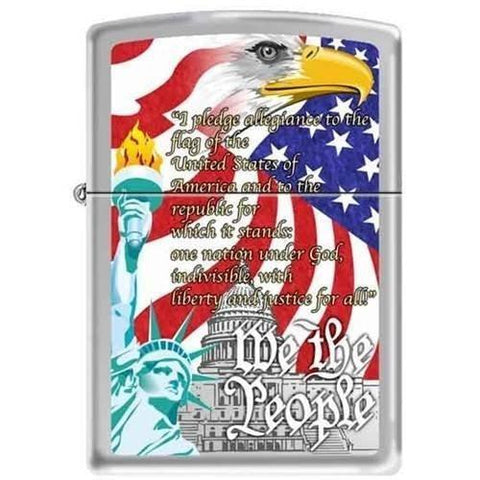 Zippo Lighter - We the People Brushed Chrome - Lighter USA