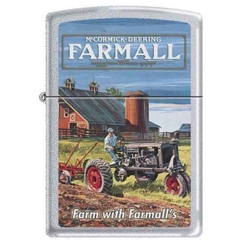 Zippo Lighter - Farm With Farmall's Satin Chrome - Lighter USA