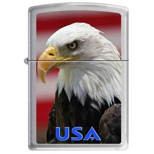 Zippo Lighter - Eagle w/Flag USA  Brushed Chrome - Lighter USA