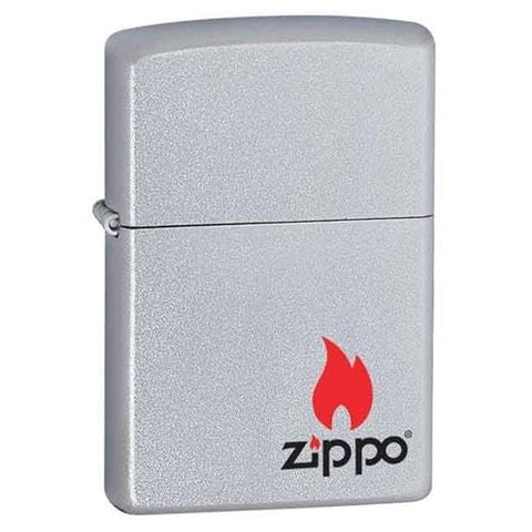 Zippo Lighter - Zippo Logo with Flame Satin Chrome - Lighter USA