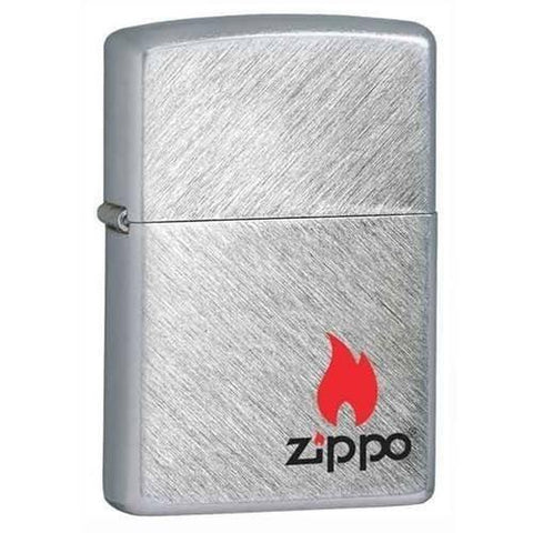 Zippo Lighter - Zippo Logo with Flame Herringbone Sweep - Lighter USA