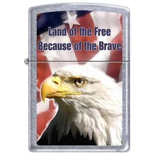 Zippo Lighter - Land of the Free Because of the Brave Street Chrome - Lighter USA