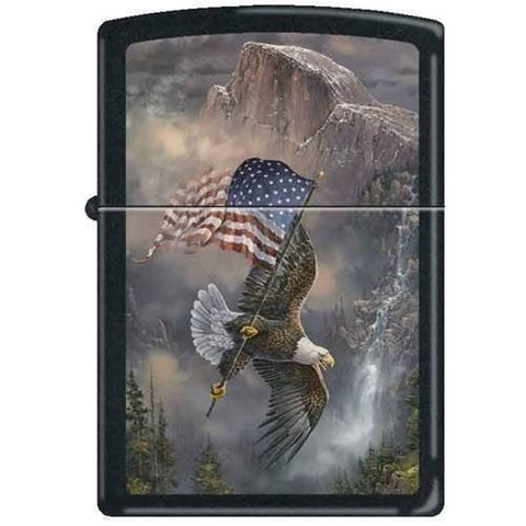 "Zippo Lighter - Blaylock ""Old Glory at Half Dome"" Black Matte - Lighter USA"
