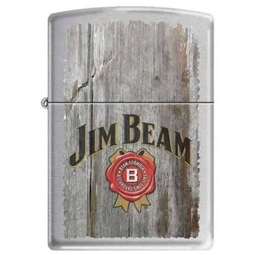 Zippo Lighter - Jim Beam Brushed Chrome - Lighter USA