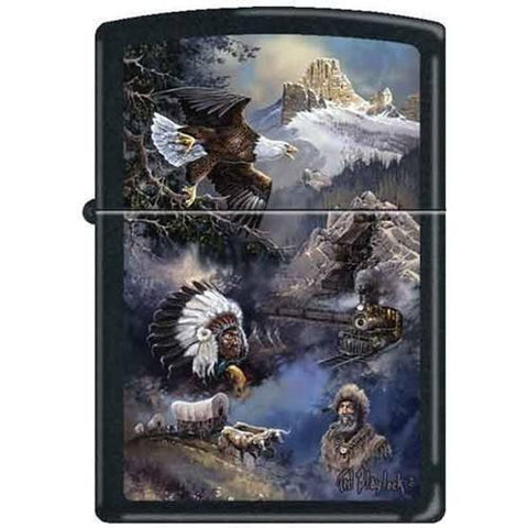 Zippo Lighter - Blaylock Spirit of the West Black Matte - Lighter USA