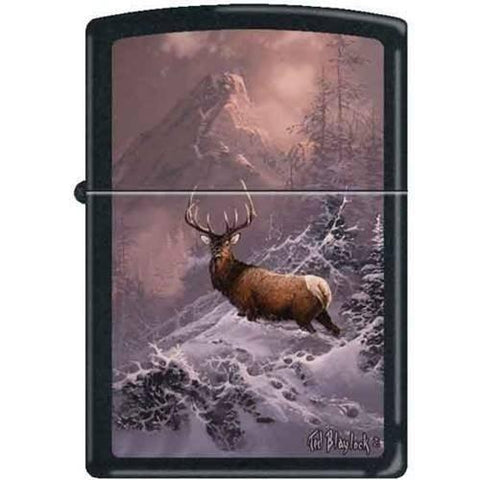 Zippo Lighter - Blaylock The Lone Bull Elk Black Matte - Lighter USA