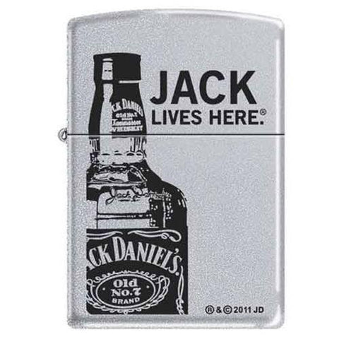 Zippo Lighter - Jack Lives Here Satin Chrome - Lighter USA