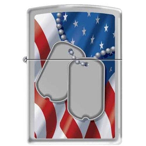 Zippo Lighter - Dog Tags Flag Brushed Chrome - Lighter USA - 1