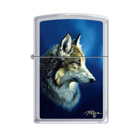 Zippo Lighter - Picken's Wolf Satin Chrome - Lighter USA