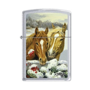 Zippo Lighter - Picken's Winter Horses Satin Chrome