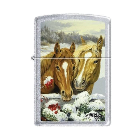 Zippo Lighter - Picken's Winter Horses Satin Chrome - Lighter USA