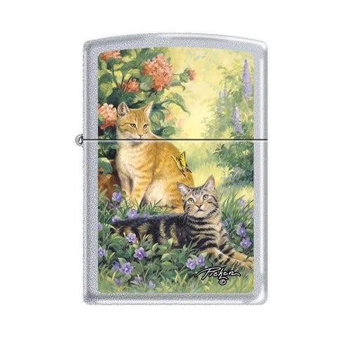 Zippo Lighter - Picken's Purrrfect Satin Chrome - Lighter USA