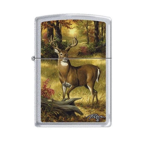 Zippo Lighter - Picken's Forest Buck Satin Chrome - Lighter USA