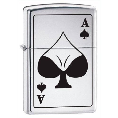 Zippo Lighter - Ace of Spades Bodacious High Polish Chrome - Lighter USA