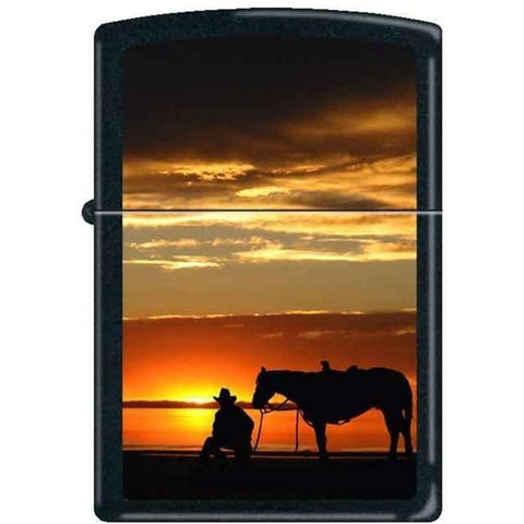 Zippo Lighter - Cowboy & Horse at Sunset Black Matte - Lighter USA