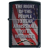 Zippo Lighter - Right to Bear Arms Black Matte - Lighter USA