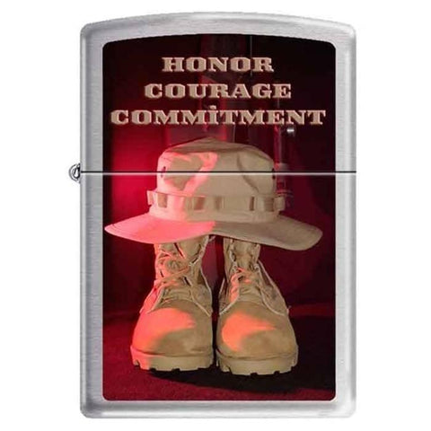 Zippo Lighter - Honor Courage Commitment  HP Chrome - Lighter USA