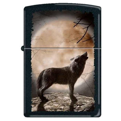 Zippo Lighter - Wolf Howling at Moon Black Matte - Lighter USA