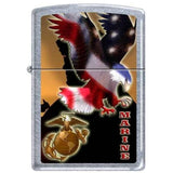 Zippo Lighter - Marine Eagle Street Chrome - Lighter USA