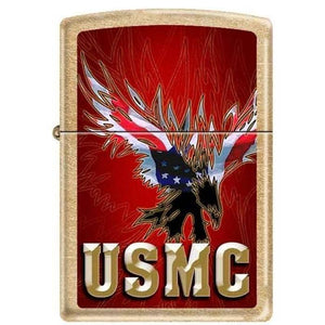 Zippo Lighter - USMC Eagle Gold Dust Finish