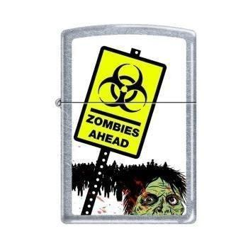 Zippo Lighter - Zombies Ahead Street Chrome - Lighter USA